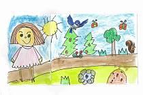Úspěšné práce ze soutěže Les nás baví. Eliška Večeřová svůj obrázek nazvala Co ztratím, když zmizí les.