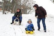 Trocha sněhu udělala 16. ledna radost dětem ve Znojmě. Musely si ovšem pospíšit. Před polednem trochu nasněžilo a už po obědě do sněhu padal déšť.