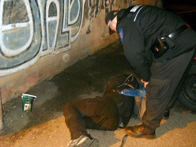 Ležícího opilce zachraňovali zachraňovali znojemští strážníci.