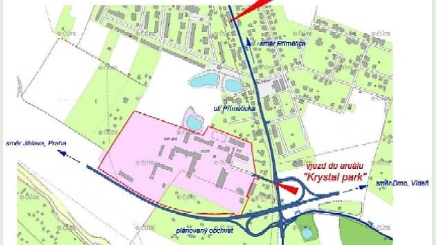 Umístění plánovaného Krystal Parku