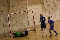 Brankář Dřevotvaru Fučík (na snímku) lovil míč z branky celkem pětkrát