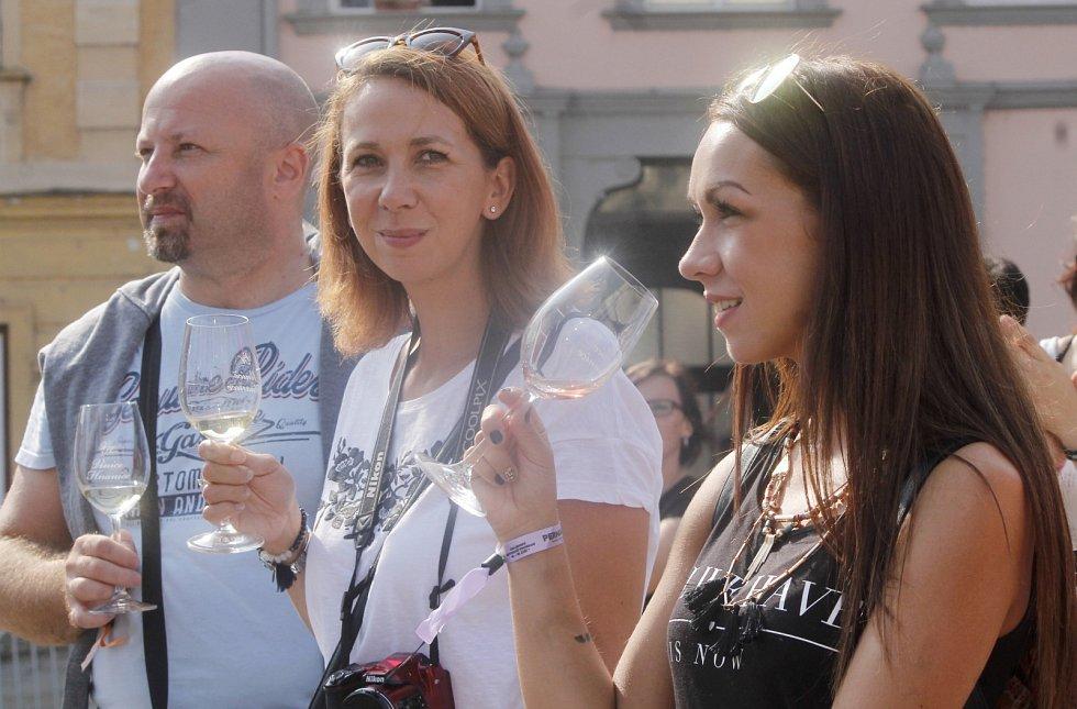 Páteční první den Vinobraní nabídl hned zkraje koncert slovenského finalisty talentové soutěže Mira Šmajdy. Lidi bavili umělci, všude bylo k dostání víno a také burčák. Svůj nový týdeník s názvem Naše Znojemsko nabízel stánek regionálního Deníku.