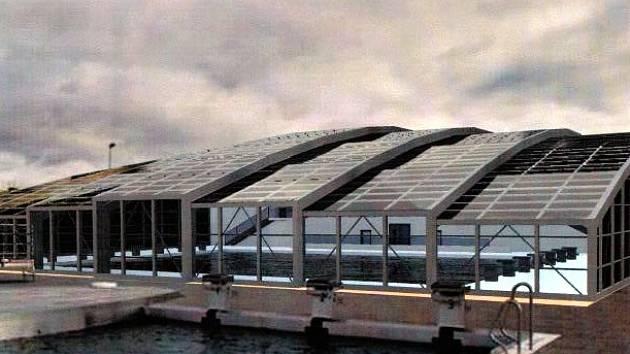 Vizualizace střechy na plovárně v Louce