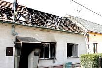 Dům v Mramoticích po roszáhlém požáru.