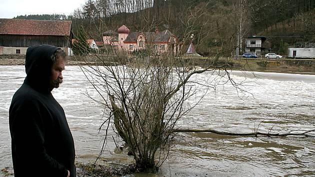 Povodně v Podhradí nad Dyjí.Ilustrační foto.