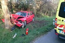 Žena s autem narazila do stromu. Zranila se jen lehce