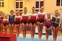 Znojemské barvy hájilo na sobotních závodech v Poděbradech dvanáct gymnastek. Foto: archiv KSG