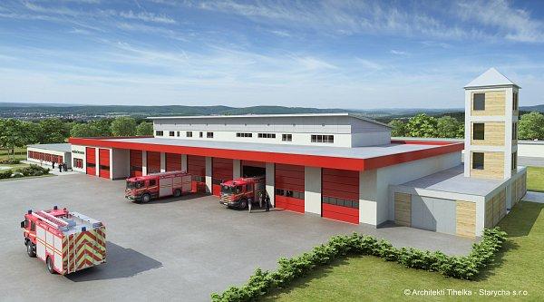 Vizualizace plánované nové stanice hasičů ve Znojmě.