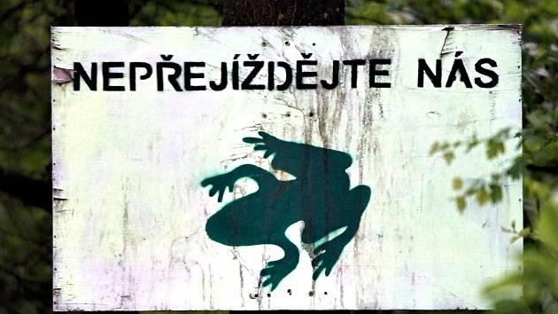 Na výskyt žab na silnici u Mašovic upozorňuje tato cedule.