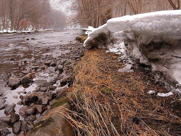 KRY NA BŘEHU. Řeka Dyje v zimě u Devíti mlýnů. Kolísání její hladiny je patrné i z polohy ker na břehu.