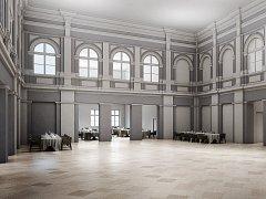 Takto by mohlo vypadat předsálí budoucího společesnkého sálu v Domečku.