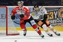 Znojemští hokejoví Orli (červení) brali body podeváté za sebou. V sobotu doma porazili Dornbirn 5:2.