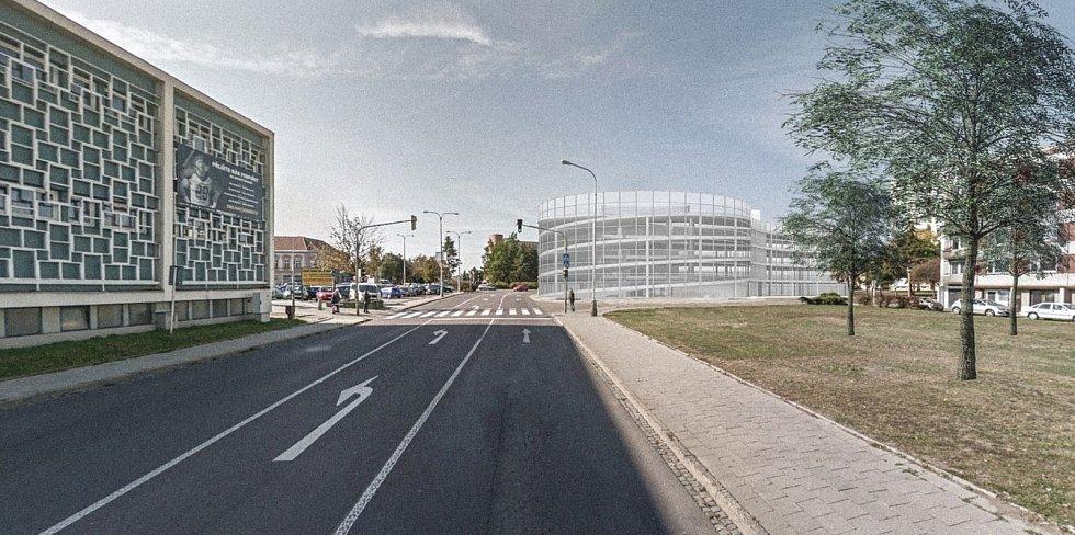 Návrh parkovacího domu nám. Svobody Znojmo. Vizualizace: IXA, v.o.s