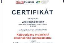Znojemská Beseda zařadila město mezi TOP místa v České republice. Získala certifikát lokálního partnera CzechTourism.