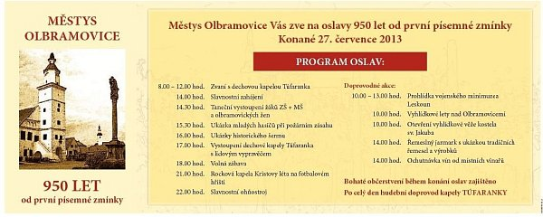 Olbramovice chystají oslavy výročí od první písemné zmínky oměstysu