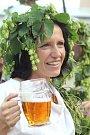 Krojovaná chasa, zpěvy, tance a spousta piva. Tak vypadaly vsobotním parném odpoledni letošní jevišovické dožínky.