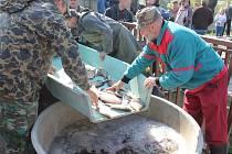 Rybáři od pondělí loví všechny zbylé ryby z vod přehrady v Horních Dunajovicích.