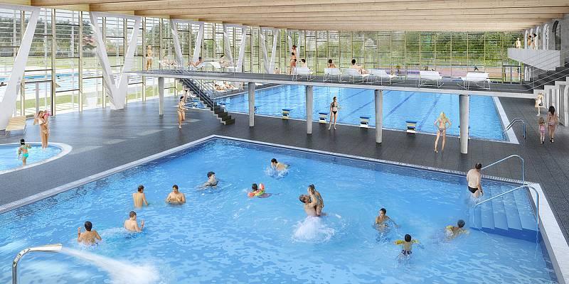 Budova krytého bazénu je navržena jako doplněk areálu Městské plovárny ve Znojmě-Louce. Vizualizace.