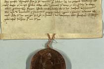 Listina s pečetí biskupa Roberta k založení přímětického kostela.