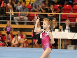 Znojmo poprvé pořádalo mistrovství republiky dívek a žen ve sportovní gymnastice ve výkonnostních stupních. Veronika Kubošná (na snímku) cvičí prostná.