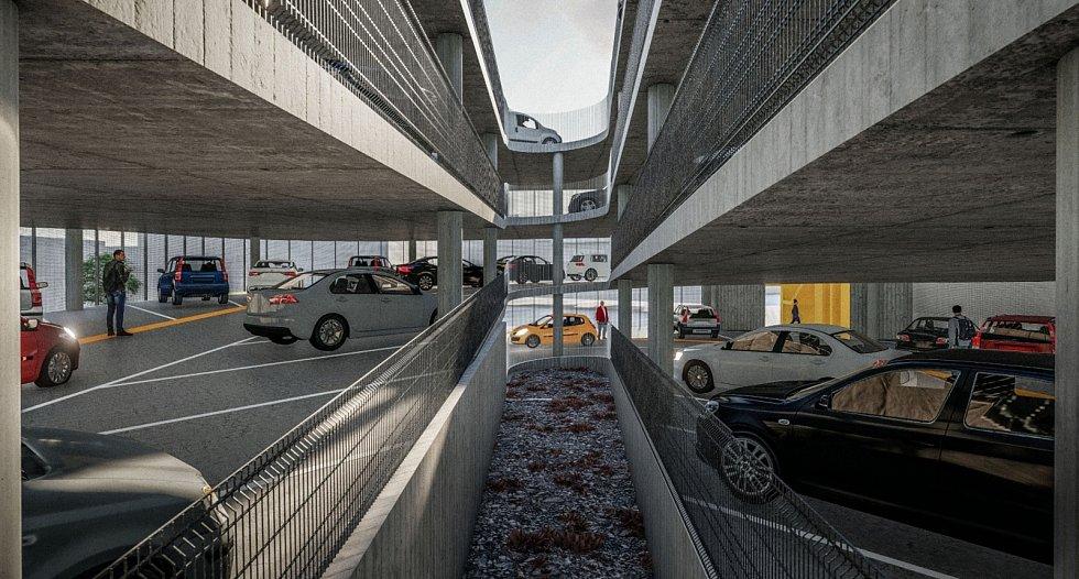 Návrh parkovacího domu v Pražské ulici Znojmo. Vizualizace: IXA, v.o.s