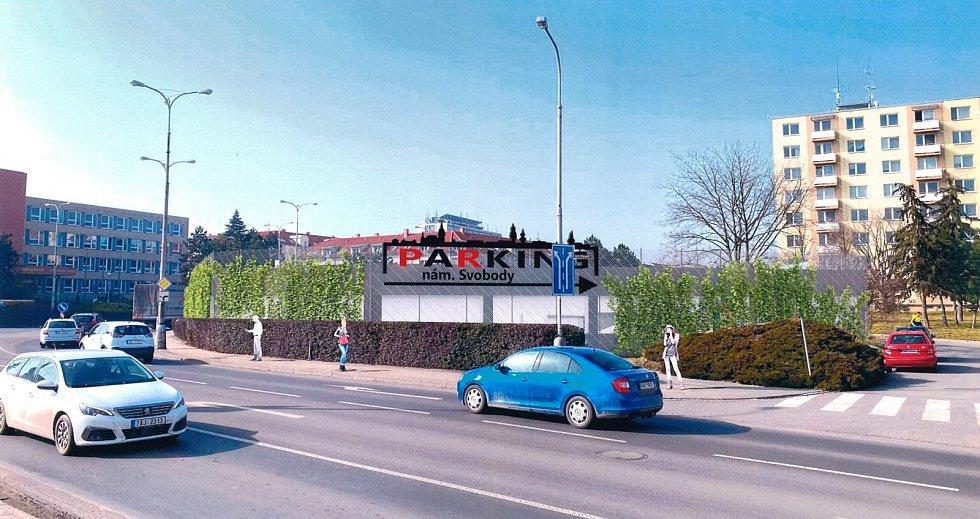Návrh parkovacího domu v Pražské ulici Znojmo. Vizualizace:  Znojmoprojekt