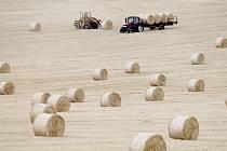 Z polí nad Hlubokými Mašůvkami odváželi zemědělci o posledním červencovém úterku balíky slámy na uskladnění.