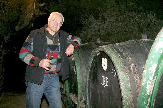 Vinař Josef Dobrovolný ve svém sklepě.