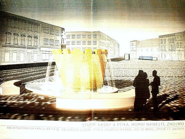 V rohu Horního náměstí má podle vizualizace z dílny brněnských architektů Ludvíka Gryma a Jindřicha Škrabala, kteří dali novou tvář celému Hornímu a Václavskému náměstí i ulici Přemyslovců, vyrůst nová kašna ve tvaru královské koruny.