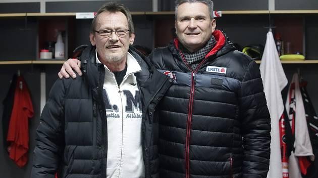 Nový trenér znojemských Orlů Miroslav Fryčer (vlevo) se sportovním manažerem klubu Rostislavem Dočekalem