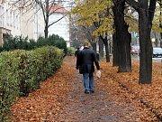 V Pražské a Rumunské ulici ve Znojmě zmizel chodník zcela pod listím.