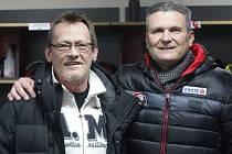 Vůdcovské duo hokejových Orlů - trenér Miroslav Fryčer a sportovní manažer klubu Rostislav Dočekal.