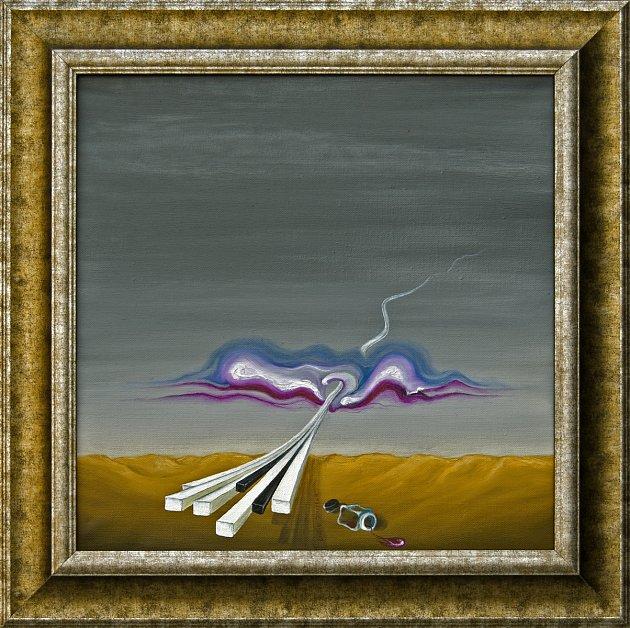 """Surrealistický sochař, malíř a """"akční umělec"""" Lubo Kristek představil na svém Zámečku Lubo vPodhradí nad Dyjí svá nová díla (na fotografii olej na plátně snázvem Milostná příhoda klavíru smrakem)"""