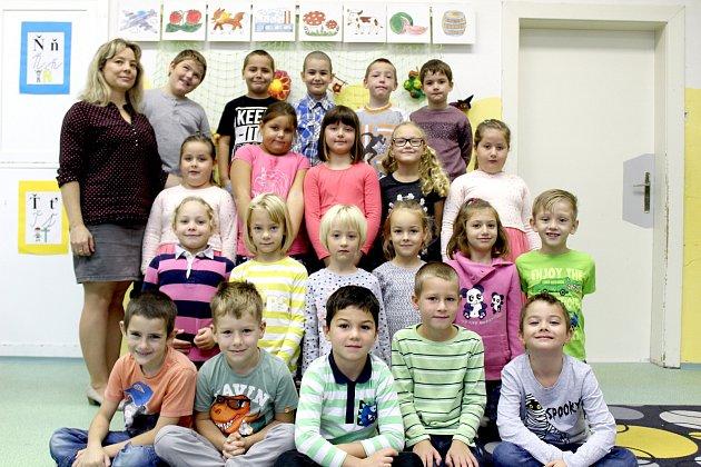 Žáci 1.D třídy ZŠ Pražská Znojmo spaní učitelkou Helenou Navrkalovou.