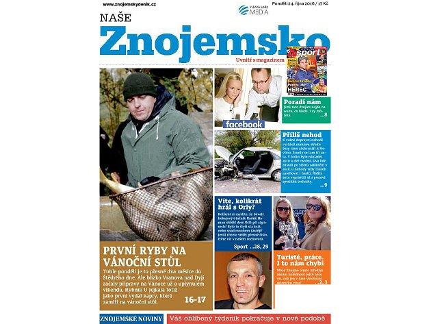 Nové číslo Našeho Znojemska, které v pondělí vyšlo jako příloha Znojemského deníku Rovnost a od úterka je pak tento týdeník volně v prodeji i s magazínem TV sport.