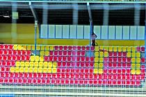 Nová podoba tribuny fotbalového stadionu ve Znojmě.