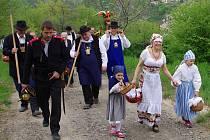 Víc než stovka účastníků tradičního jarního průvodu doprovodila v sobotu Hroznového kozla, kterého členové Spolku přátel Hroznové kozy vynesli do vinic v Popicích.