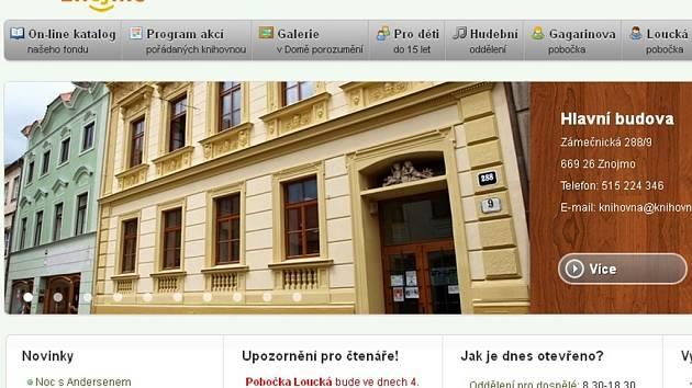 Na svém webu znojemská knihovna stále pracuje.