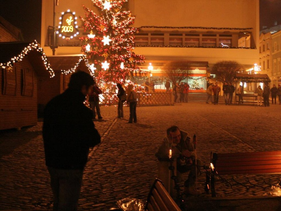 Ohňostroj na znojemském náměstí T.G. Masaryka.
