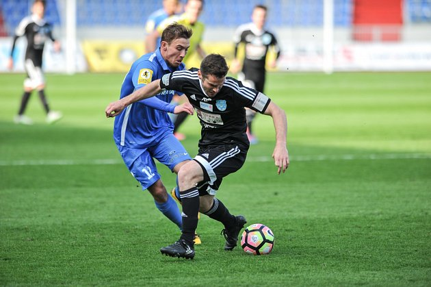 Utkání 21.kola druhé fotbalové ligy (Fortuna národní liga - FNL): MFK Vítkovice vs. 1.SC Znojmo FK, 8.dubna vOstravě.