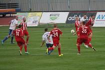 Znojemští fotbalisté v zápase FNL proti Třinci. Ilustrační foto.