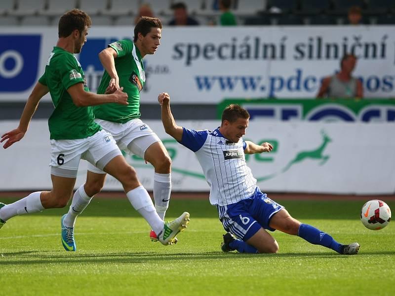 5. kolo fotbalové Gambrinus ligy se hrálo v Jablonci 17. srpna mezi domácím FK Baumit a 1. SC Znojmo. Vlevo Marek Kysela, vpravo Tomáš Cihlář.