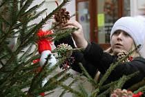 Vánoční stromky v Obrokové ulici nazdobily také letos děti ze znojemských mateřských a základních škol.