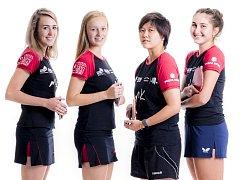 Ženské družstvo stolních tenistek MK Řeznovice, zleva Kristýna Mikulcová, Barbora Kapounová, Mitsuki Yoshida, Ekaterina Chernyavskaya.