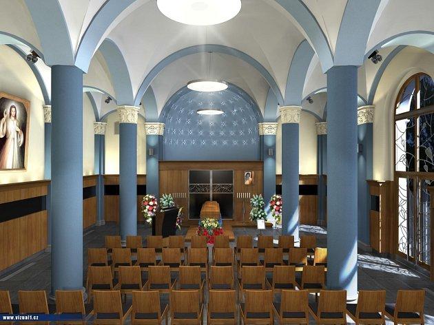 Jak bude opravená smuteční síň vypadat, lze vidět na vizualizaci architektů.