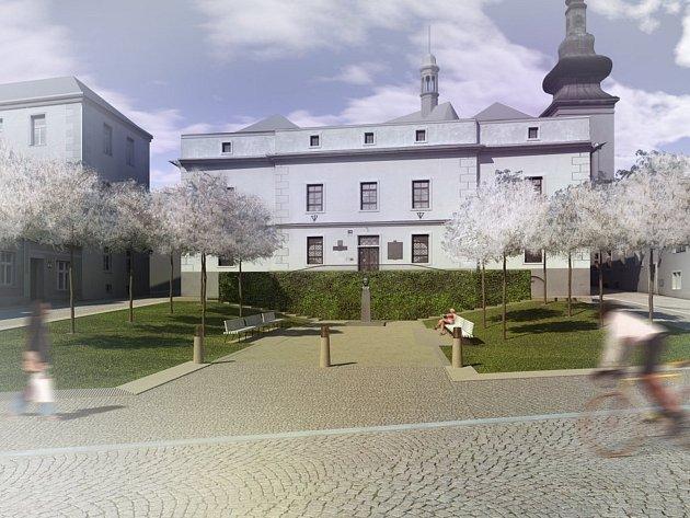 Plánovaná nová podoba znojemského Divišova náměstí na vizualizaci zveřejněné znojemským městským úřadem.