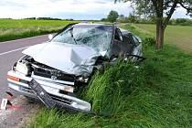 Pondělní vážná dopravní nehoda u Hevlína.