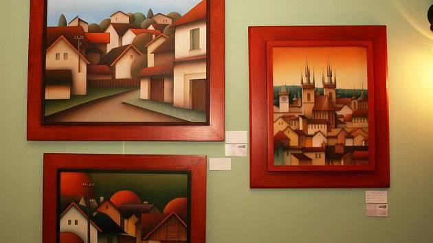 Výstava obrazů Michala Halvy a Karla Kaliny ve znojemském hotelu Prestige.