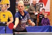 Hráčka Břeclavi při utkání 7. kola stolního tenisu extraligy žen.