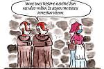 Kreslené vtipy reagují na aktuální situaci.